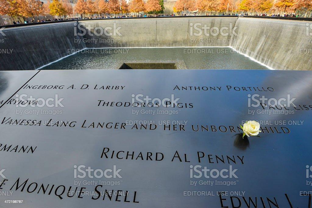 The World Trade Center memorial in New York City stock photo