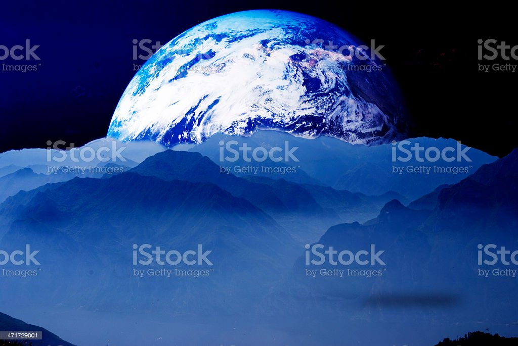 the World with mountains royalty-free stock photo