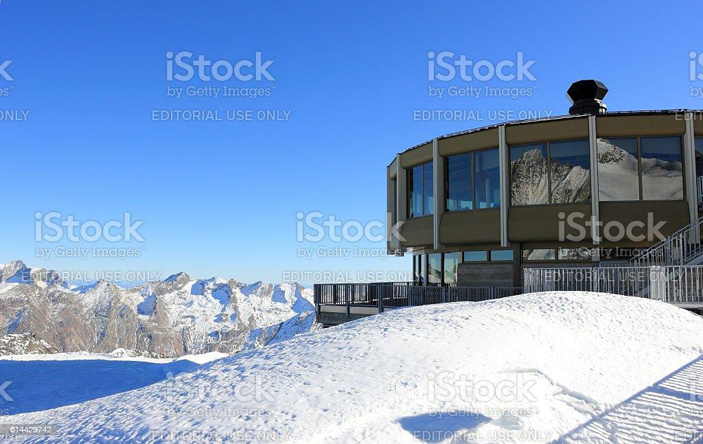 The world's highest revolving restaurant. Mittelallalin, Swiss Alps. stock photo