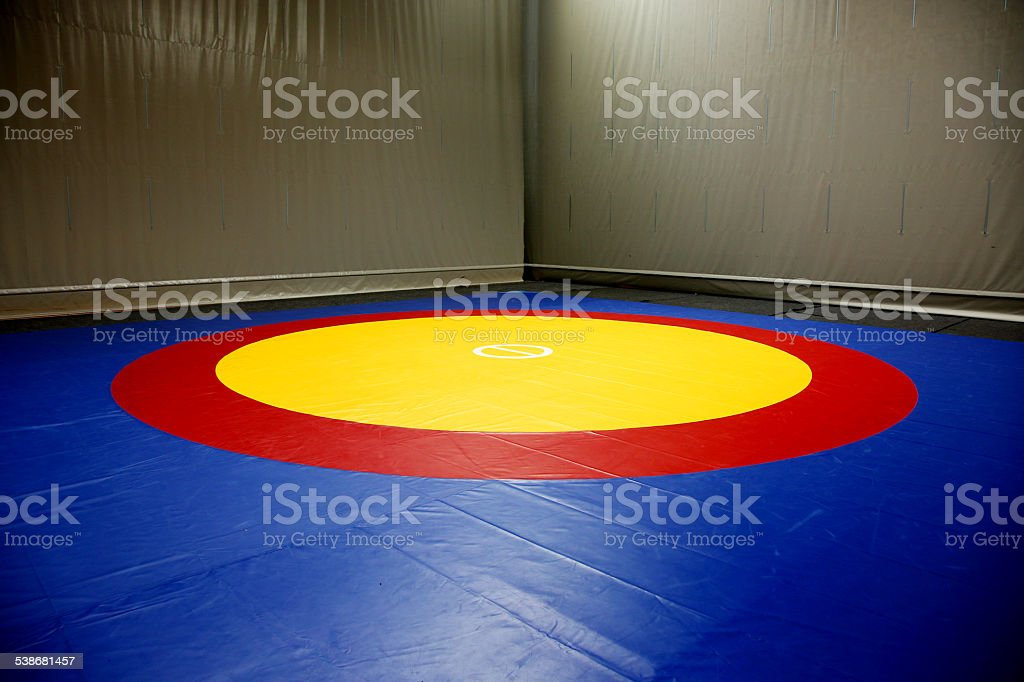 The wrestling mat into the hall stock photo