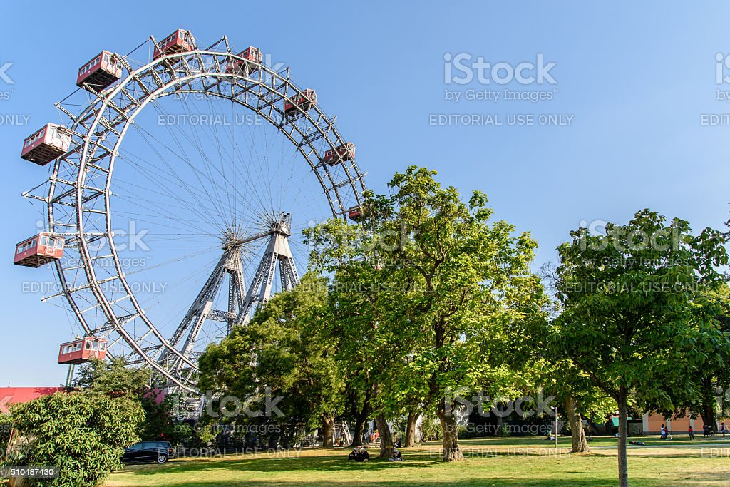 The Wurstelprater amusement park or Prater In Vienna stock photo
