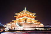 The  Xi'anBell Tower illuminated at night