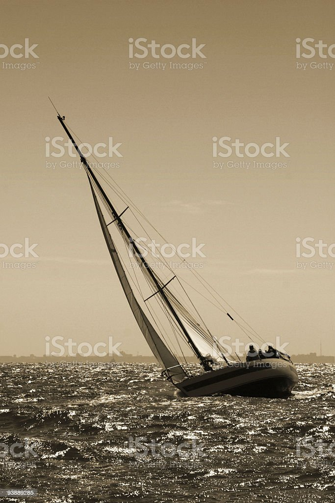 The yacht maneuvers. Storm royalty-free stock photo