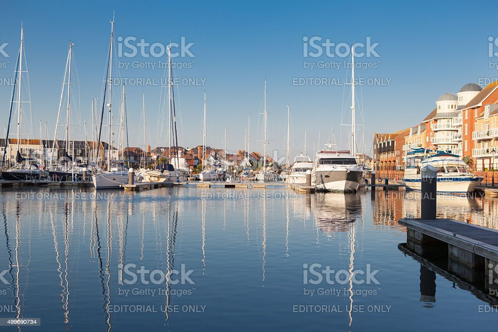 The yachts in Sovereign harbour, Eastbourne in the evening light stock photo