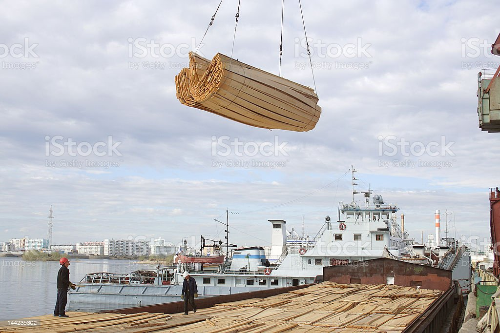 The Yakut river port. Cargo area №1. royalty-free stock photo