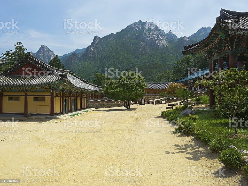 The yard of Buddhist Sinheungsa Temple in Seoraksan royalty-free stock photo