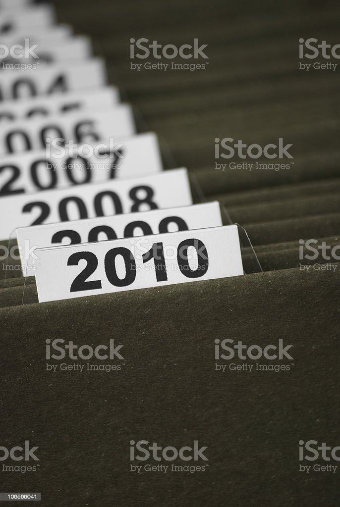 The year 2010 in index files royalty-free stock photo