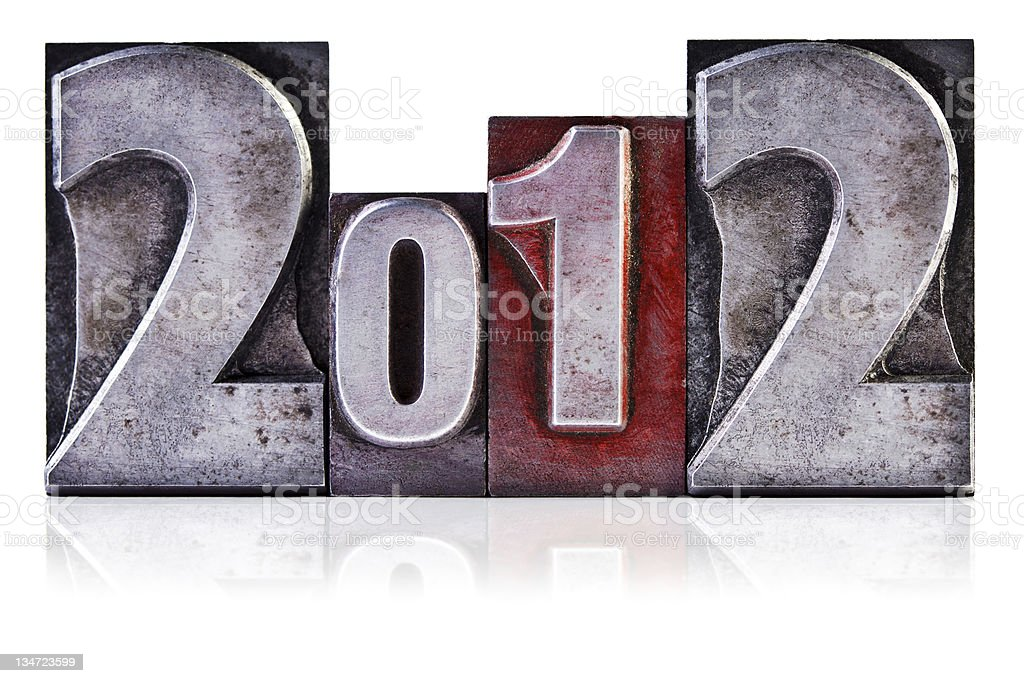 The year 2012 in Letterpress numbers royalty-free stock photo