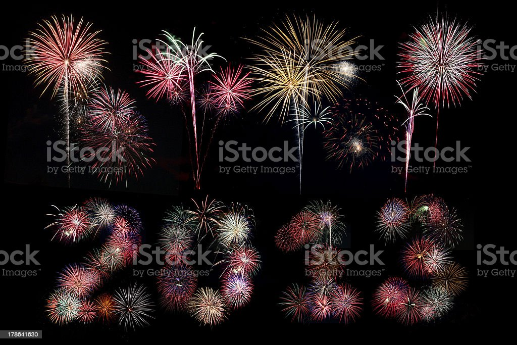 The year 2013 written in fireworks below bursts royalty-free stock photo