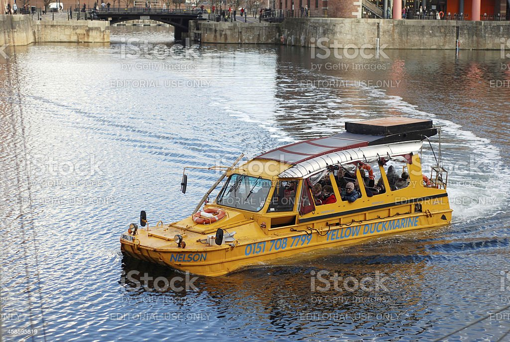The Yellow Duckmarine inside Albert Dock royalty-free stock photo