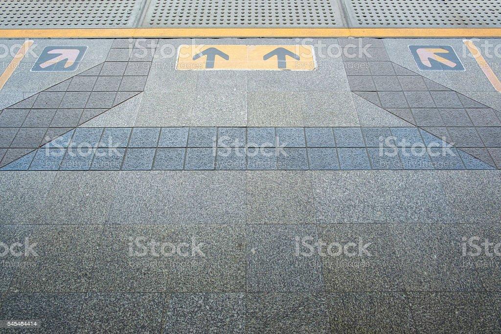 The yellow line and arrow symbol. stock photo