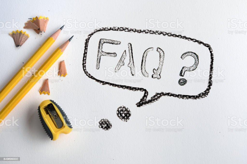The Yellow pencil with shaving on white drawing watercolor paper with FAQ text word , creative work tool project stock photo