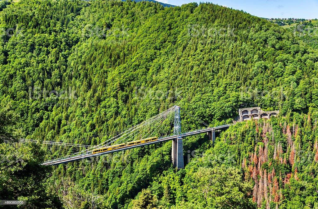 The Yellow Train (Train Jaune) on Cassagne bridge stock photo