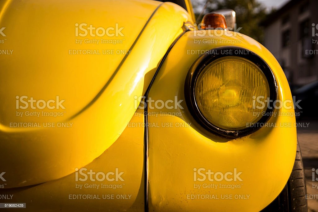 The Yellow Volkswagen Beetle stock photo