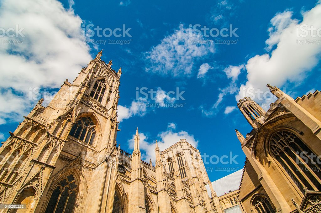 The York Minster under blue sky stock photo