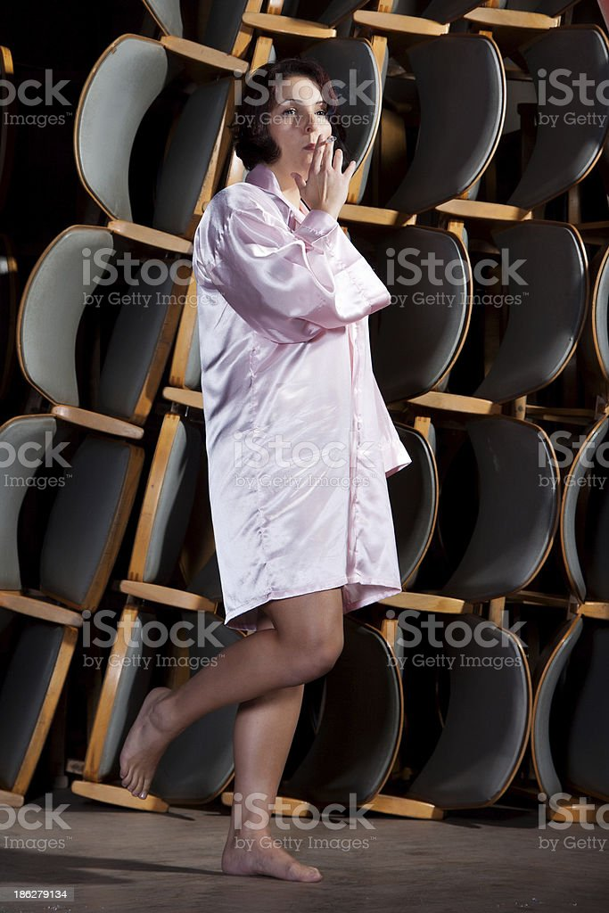 The young actress on stage stock photo