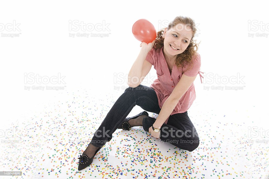 The young beautiful girl with balloon isolated on a white royalty-free stock photo
