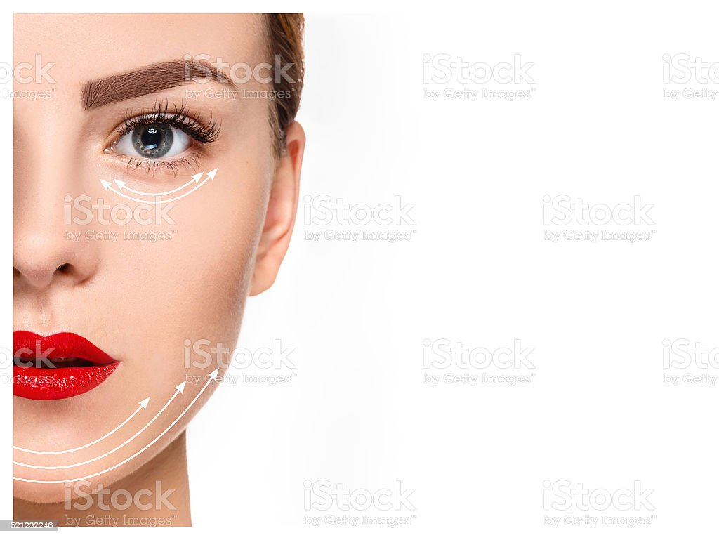 The young female face. Antiaging and thread lifting concept stock photo