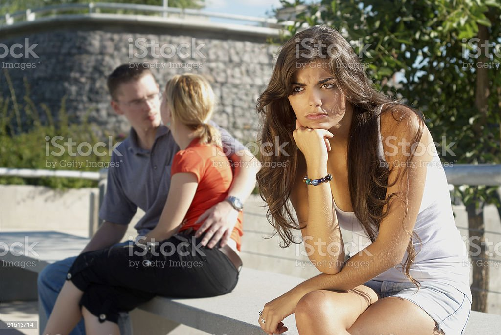 The young girl in an expectation condition stock photo