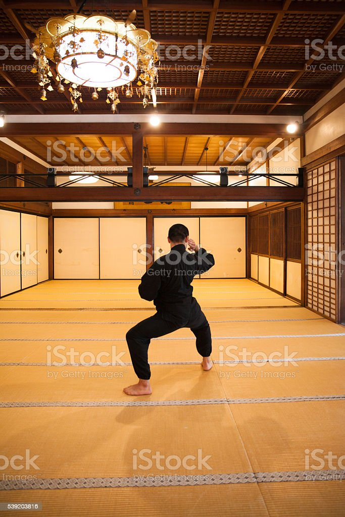 The young japanese monk praying stock photo
