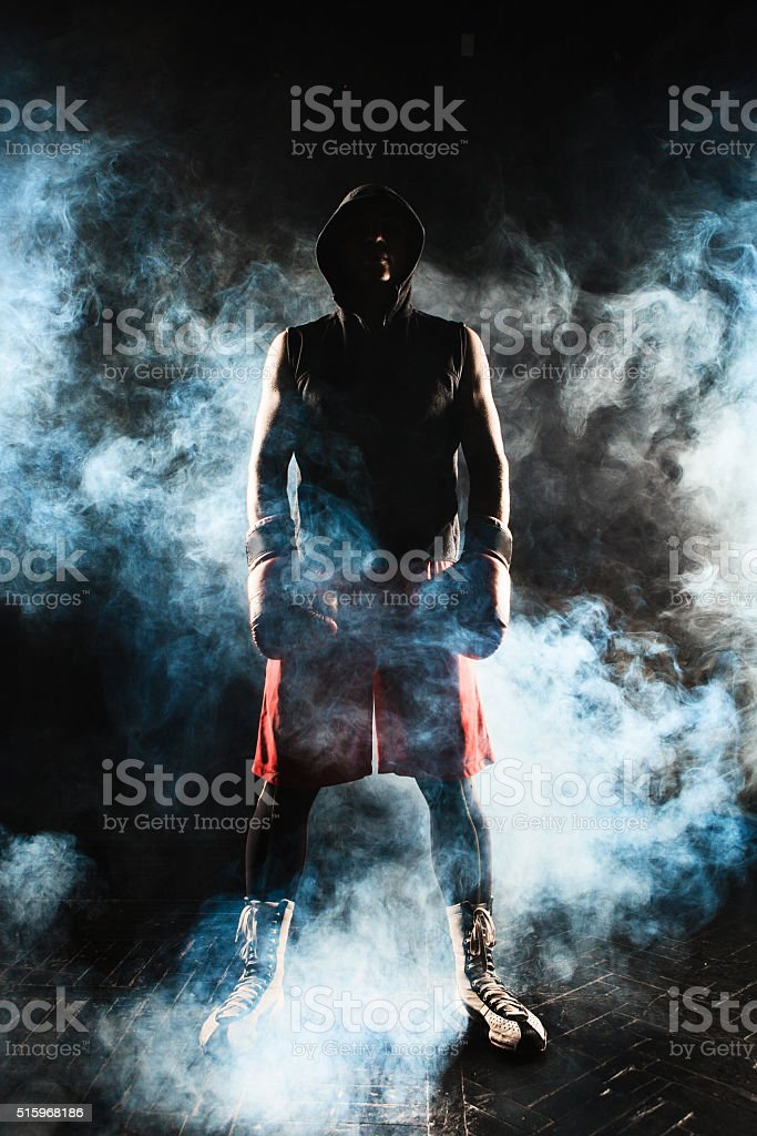 The young  man kickboxing stock photo