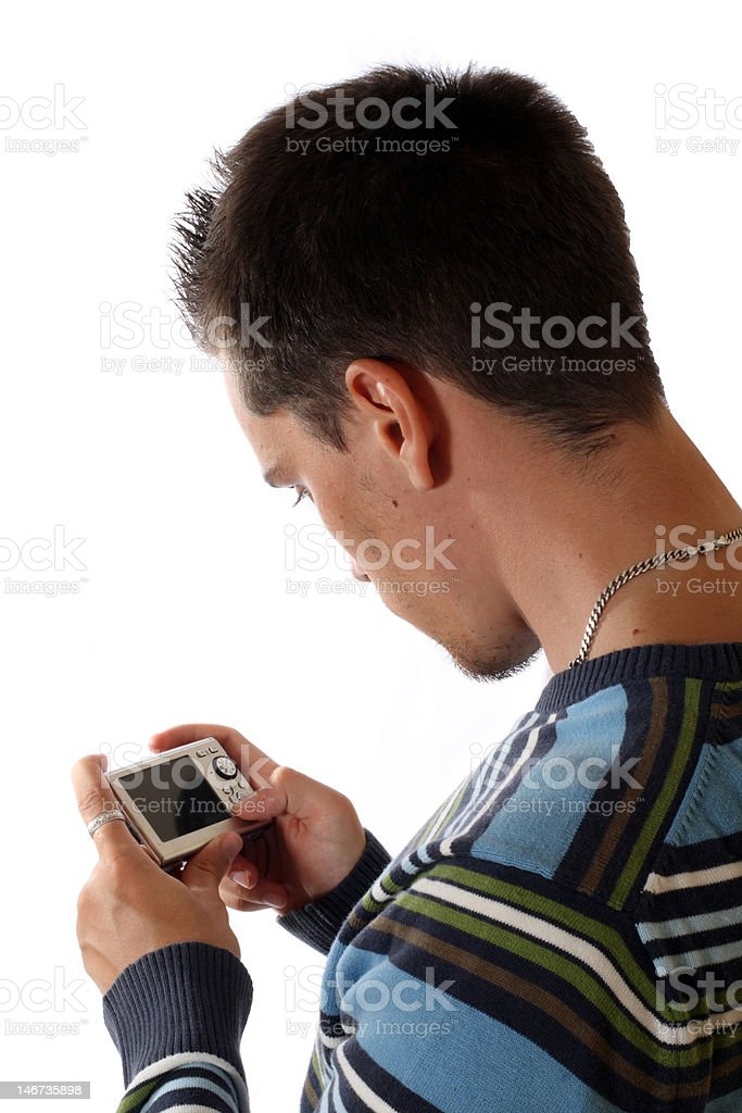 The young man with camera stock photo