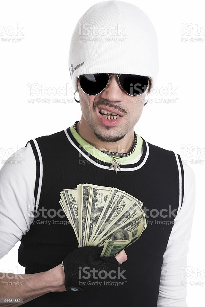 The young man with money stock photo