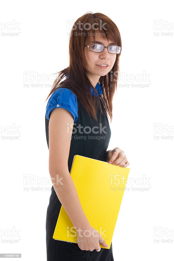 The young secretary isolated on a white royalty-free stock photo