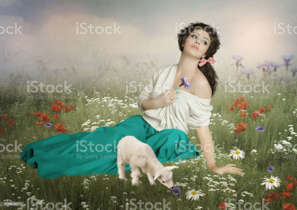 The young shepherdess stock photo