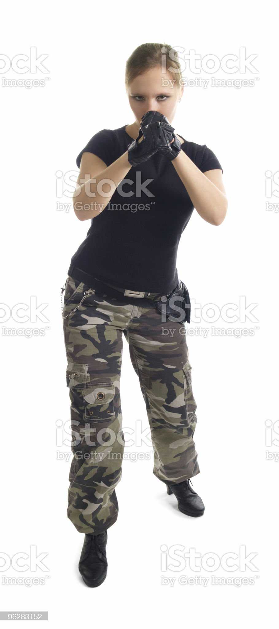 The young woman in a boxing rack royalty-free stock photo