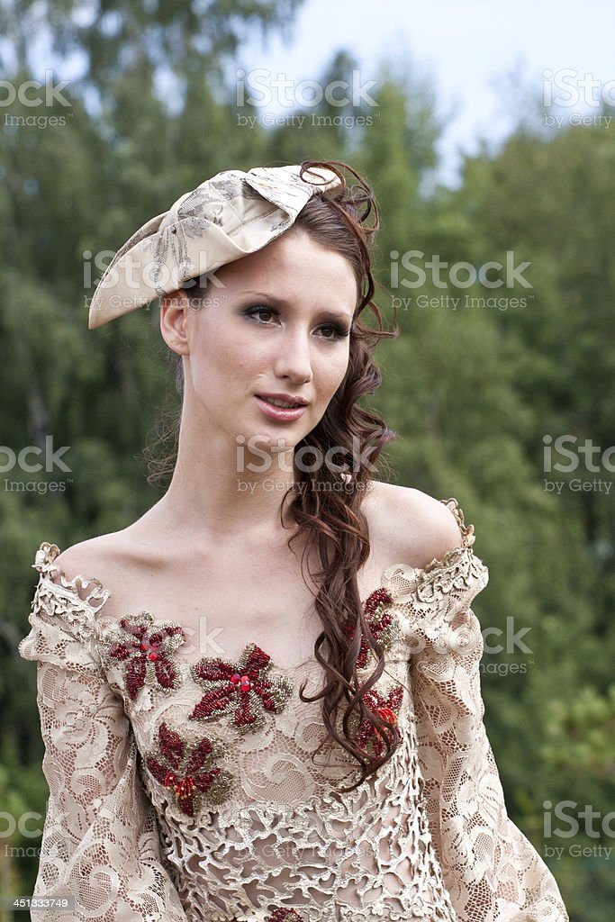 The young woman in clothes of 18 centuries stock photo