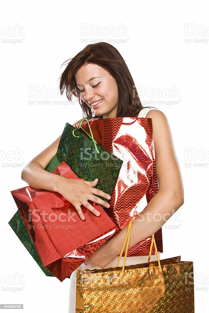 The young woman with bags after shopping. royalty-free stock photo