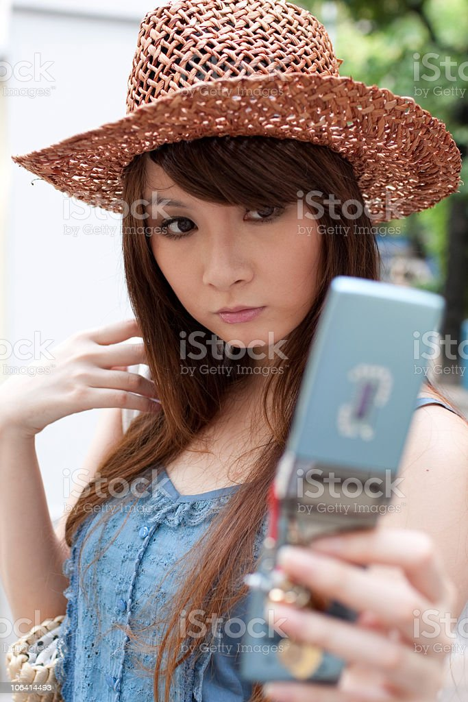 the young woman with mobile phone royalty-free stock photo