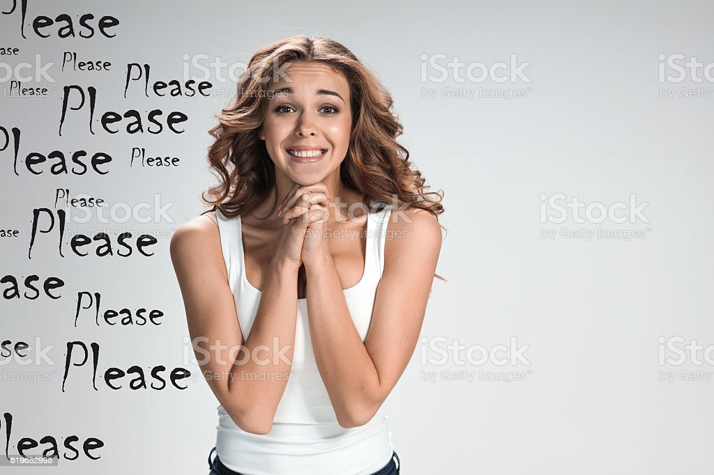 The young woman's portrait with happy emotions stock photo