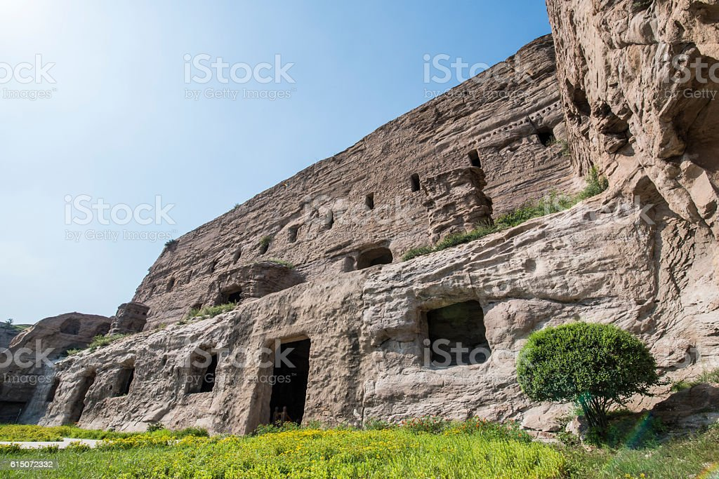 The Yungang Cave Monastery of Datong in China stock photo
