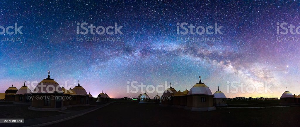 The Yurt under the milky way arch stock photo