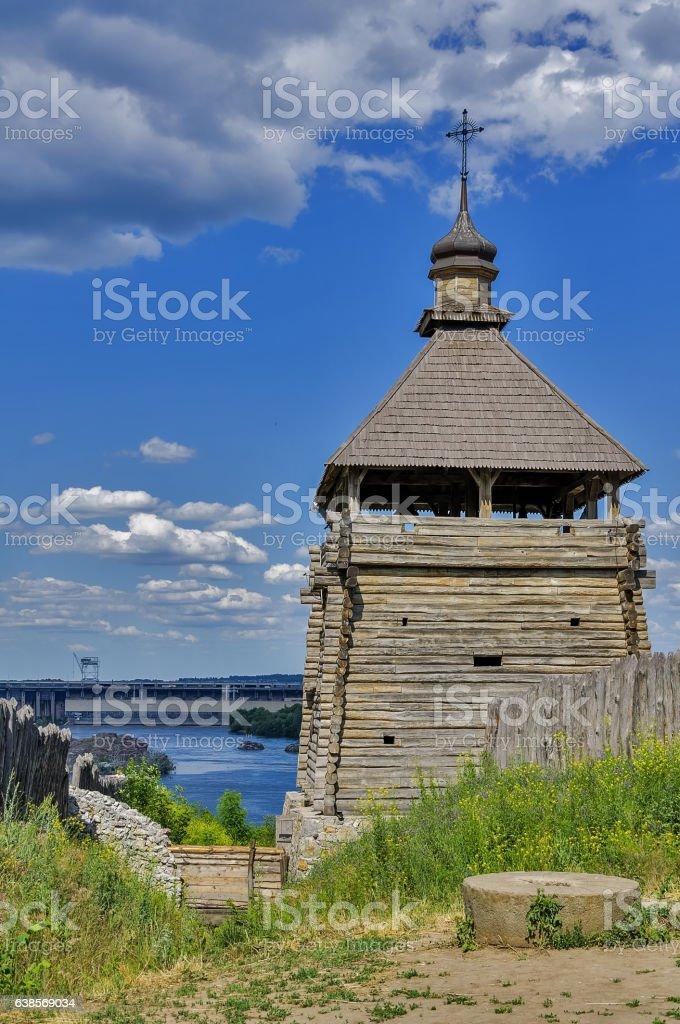 The Zaporozhian Sich on the island of Khortytsya stock photo