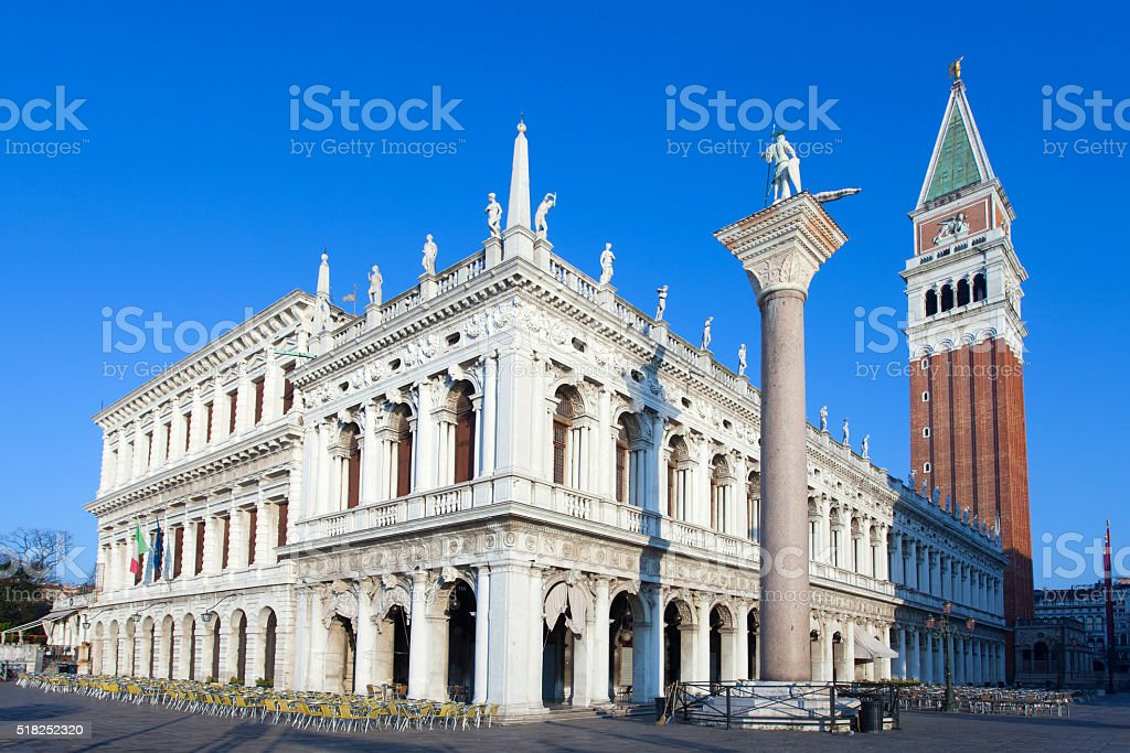 The Zecca of Venice and St. Mark's Campanile stock photo