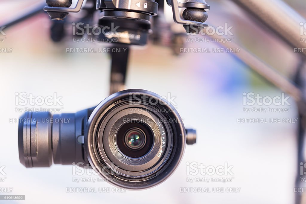 the Zenmuse X5 4K Camera attached to the DJI Inspire stock photo