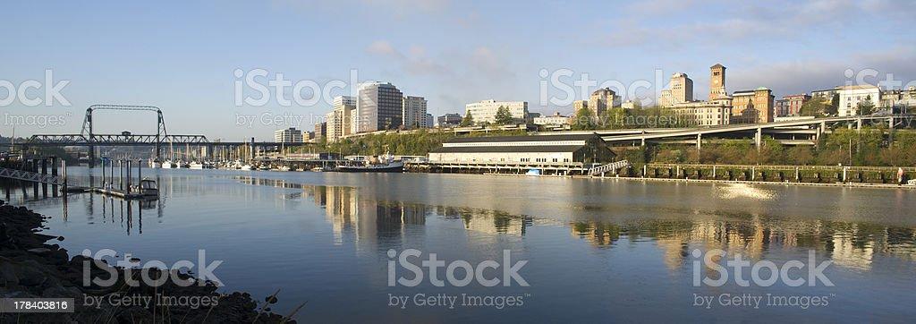 Thea Foss Waterway Commencement Bay Murray Morgan Bridge Tacoma Washington stock photo