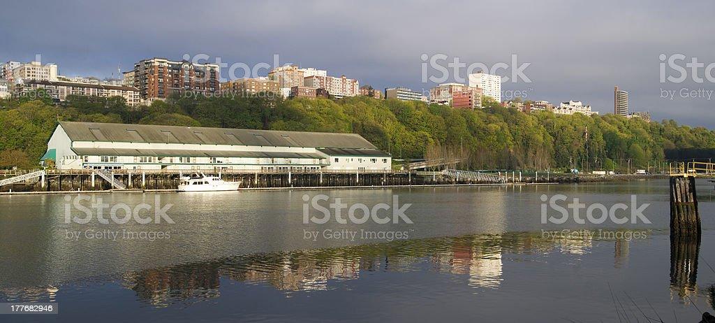 Thea Foss Waterway Waterfront Ridge of Buildings North Tacoma Washington royalty-free stock photo