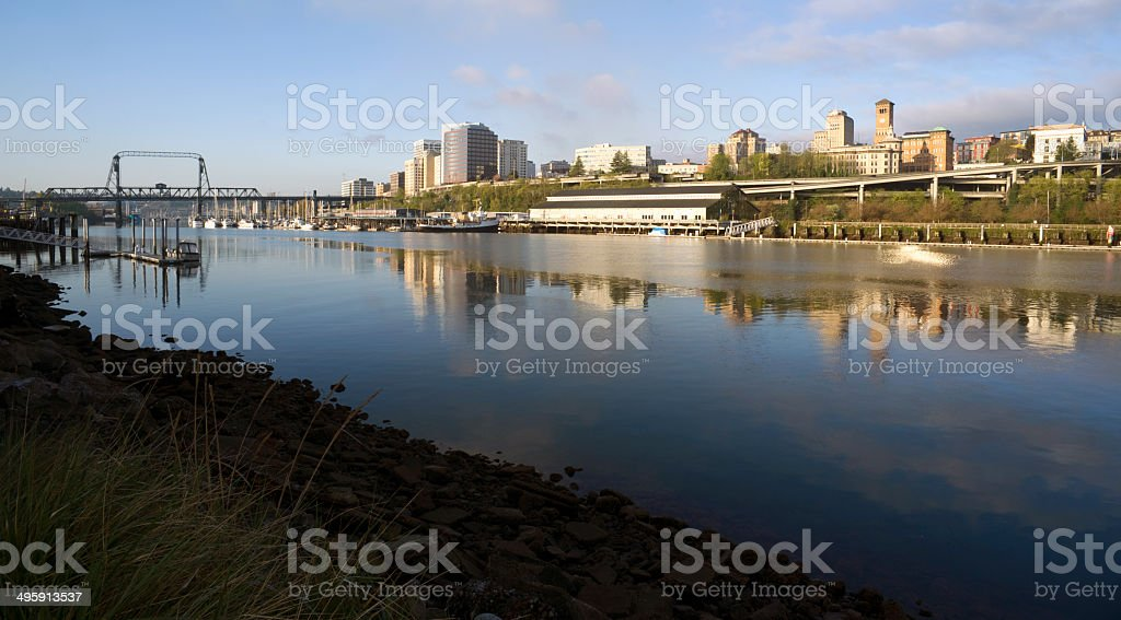 Thea Foss Waterway Waterfront River Buildings North Tacoma Washington royalty-free stock photo