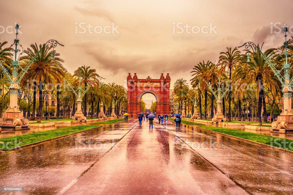 TheArc de Triomf, Arco de Triunfoin Spanish, a triumphal arcin Barcelona, in Catalonia, Spain stock photo