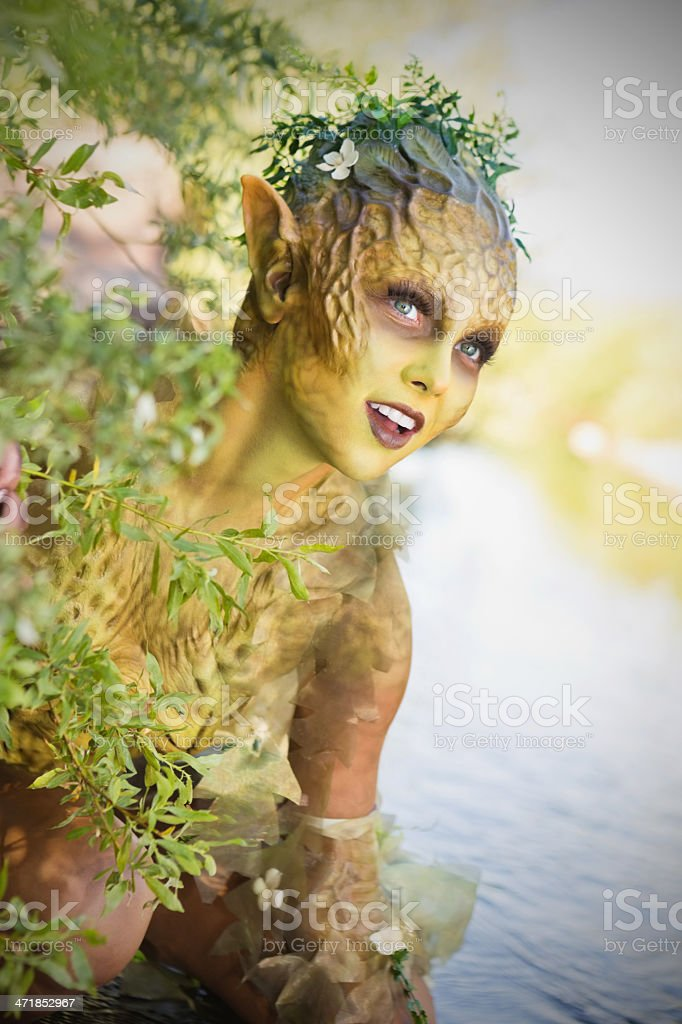 Theater actor in elaborate woodland fairy costume and makeup royalty-free stock photo