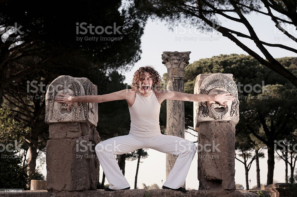 Theater actor who screams royalty-free stock photo