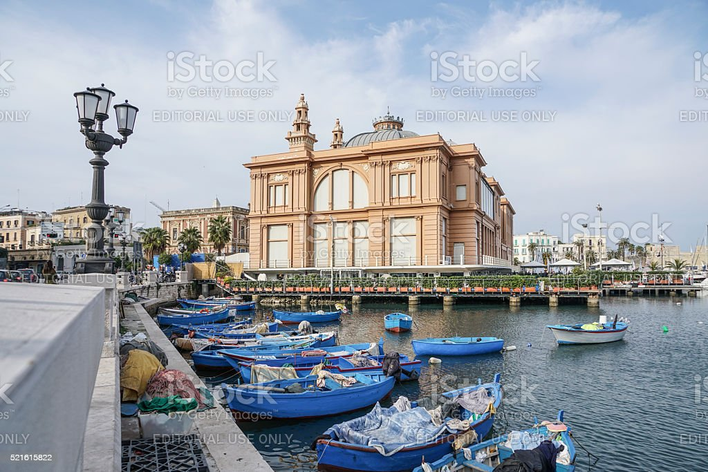 Theater building and port of Bari in Puglia, Italy. stock photo
