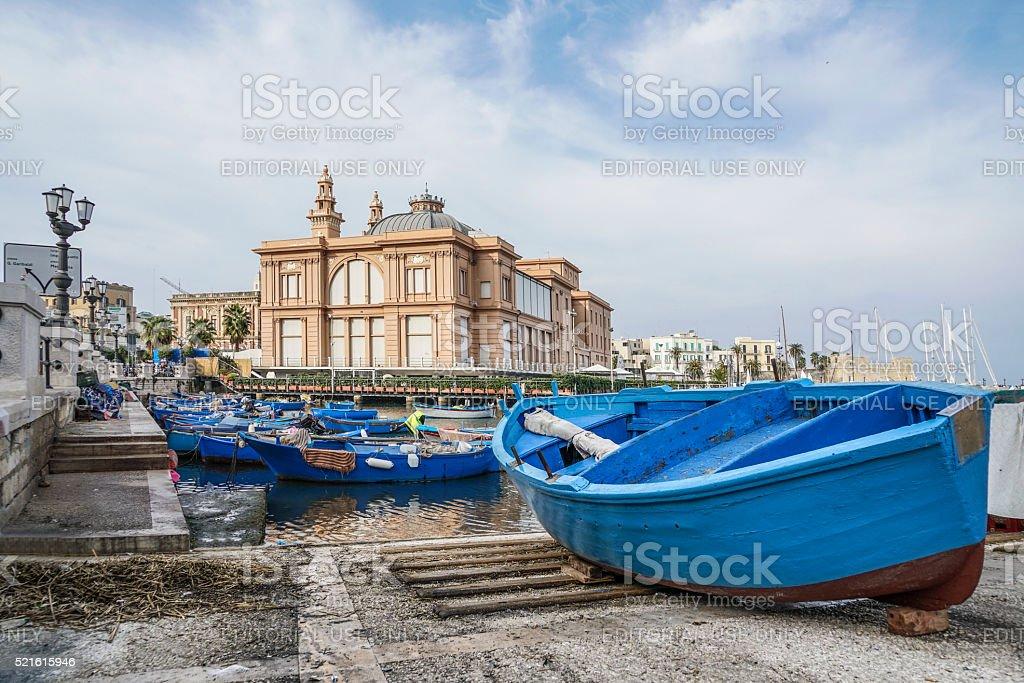 Theater building and port of Bari in Puglia, Italy. stock photo