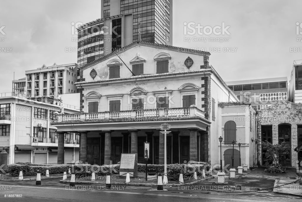 Theater building in Port Louis, Mauritius stock photo