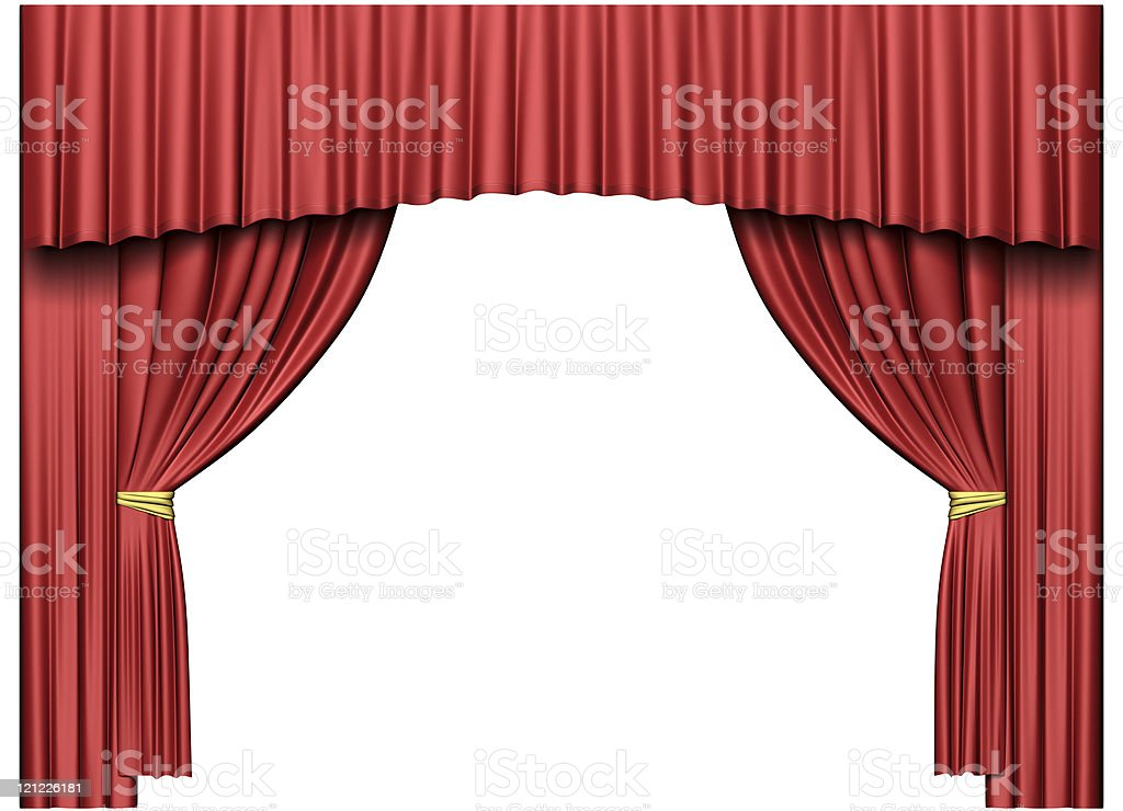 Theater curtain. Isolated on white royalty-free stock photo