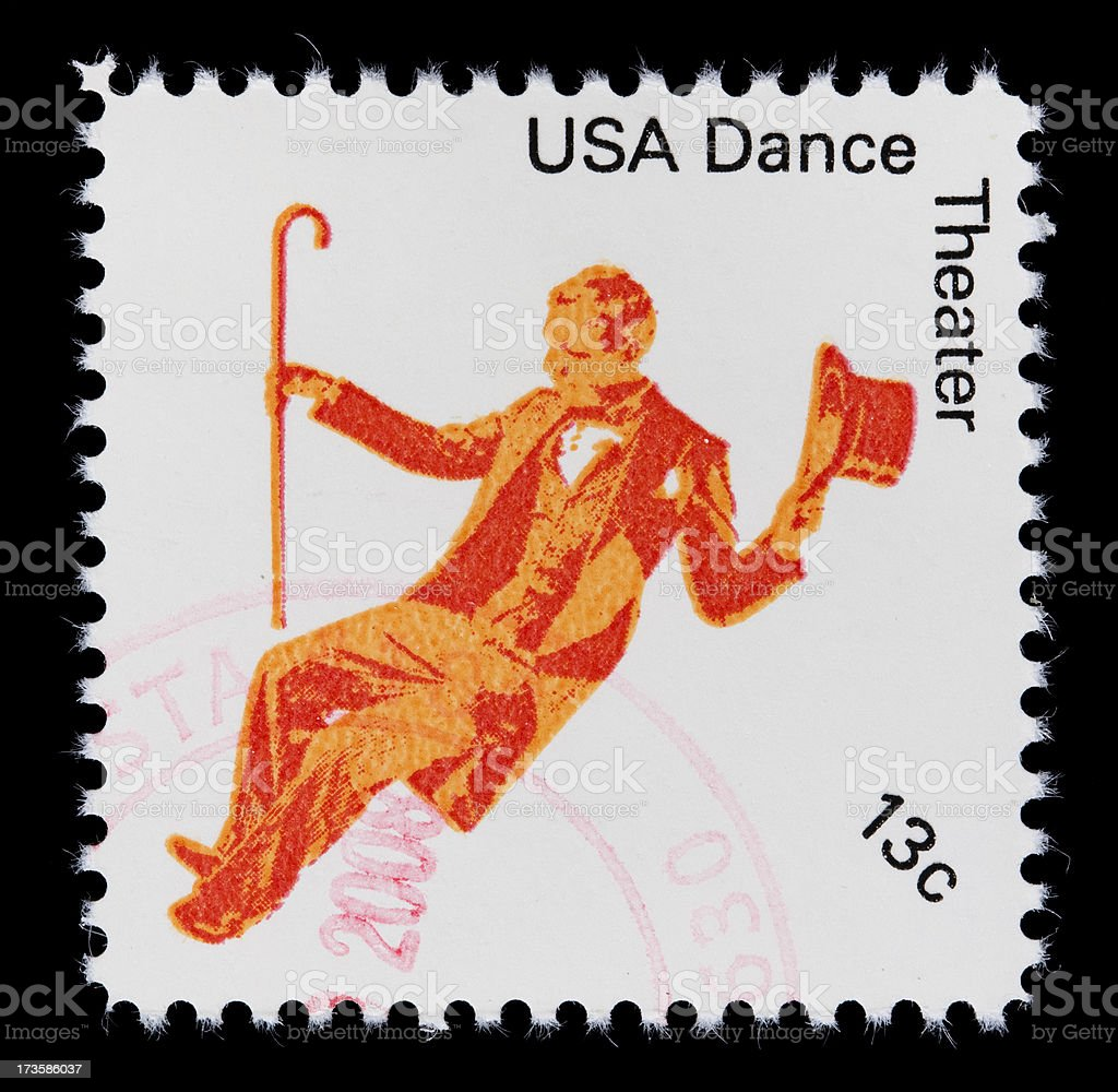 USA Theater Dance postage stamp royalty-free stock photo